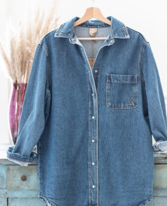 Camicia oversize in denim con taschino Dixie